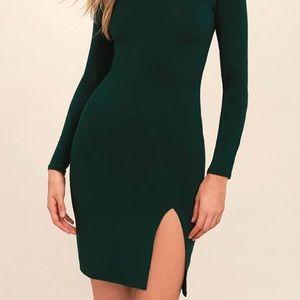 Lulu's Dark Green Long Sleeve Midi Dress